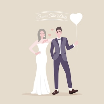 Zapisz datę młodej pary młodej szczęśliwych nowożeńców
