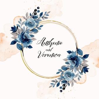 Zapisz datę. niebieski wieniec kwiatowy z akwarelą