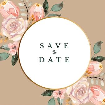 Zapisz datę okrągły brązowy vintage klasyczny kwiatowy rama szablon