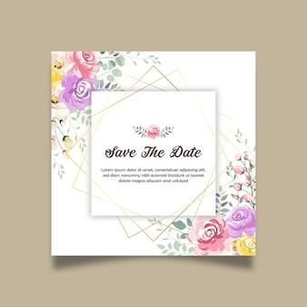 Zapisz datę piękny kwiatowy zaproszenie