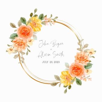 Zapisz datę. pomarańczowy wieniec różany z akwarelą