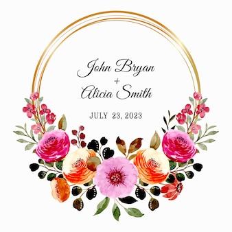 Zapisz datę. różowy brązowy wieniec kwiatowy z akwarelą