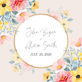 Zapisz datę. różowy żółty kwiatowy akwarela ze złotym kółkiem