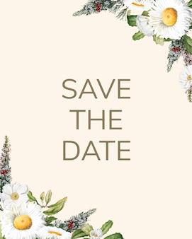 Zapisz datę ślubu zaproszenie makieta karty wektor