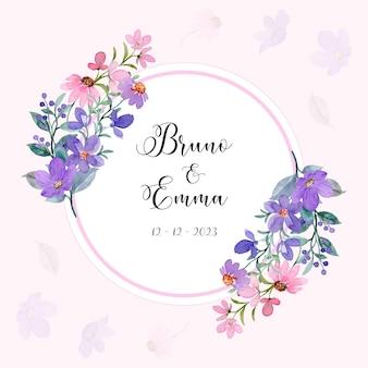 Zapisz datę uroczy fioletowy różowy wieniec kwiatowy z akwarelą