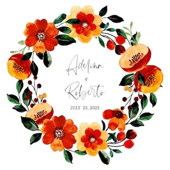 Zapisz datę. vintage wieniec kwiatowy z akwarelą