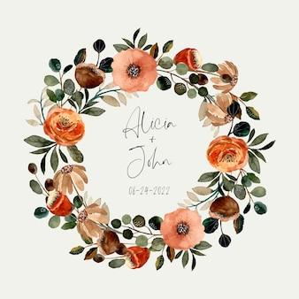 Zapisz datę. wieniec kwiatowy z akwarelą
