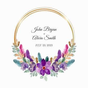 Zapisz datę. wieniec z fioletowych kwiatów i piór z akwarelą