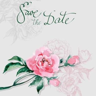 Zapisz datę z akwarelą dzikiej róży. wektor zaproszenia ślubne karty szablon.