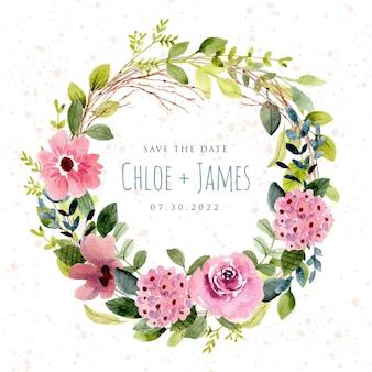 Zapisz datę z bujnym różowym kwiatowym wieńcem akwarelowym