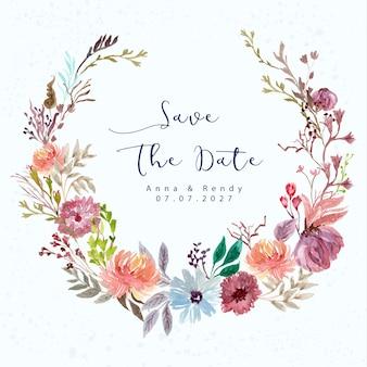 Zapisz datę z kolorowym wieńcem kwiatów akwarela