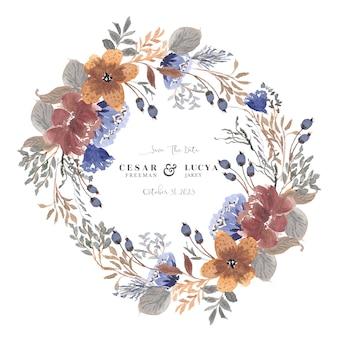 Zapisz datę z pięknym wieńcem kwiatów akwarela