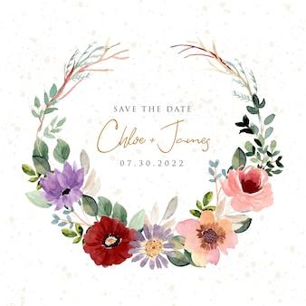 Zapisz datę z pięknym wieńcem z kwiatów akwareli