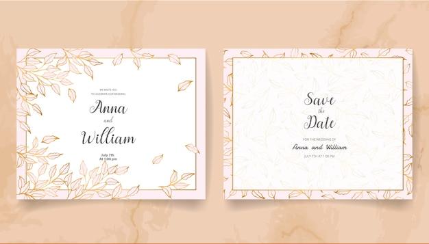 Zapisz datę zaproszenia ślubne ze złotymi liśćmi i gałęziami