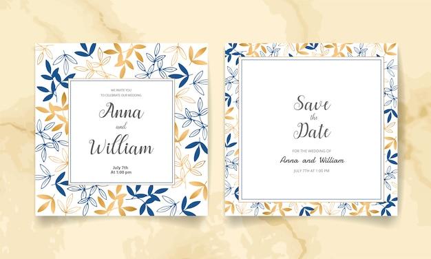 Zapisz datę, zaproszenie na ślub ze złotymi kwiatami, liśćmi i gałęziami.