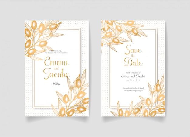 Zapisz datę, zaproszenie na ślub ze złotymi oliwkami, liśćmi i gałęziami.