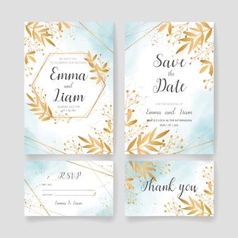 Zapisz datę, zestaw kart zaproszenia na ślub