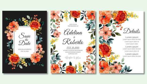 Zapisz datę. zestaw zaproszenia ślubne z kwiatową akwarelą