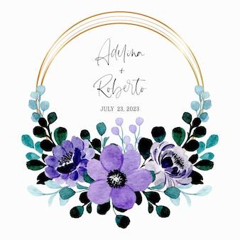 Zapisz datę. zielony fioletowy wieniec kwiatowy akwarela ze złotą ramą