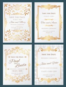 Zapisz daty luksusowych zaproszeń ślubnych ze złotą elegancką ramką graniczną