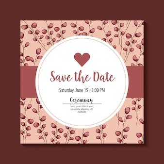 Zapisz etykietę daty z sercem i liśćmi