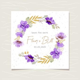 Zapisz kartę daty z fioletowym złotym wieńcem kwiatów akwarela
