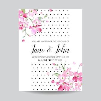Zapisz kartę daty z wiosennymi kwiatami wiśni na ślub, zaproszenie, przyjęcie, rsvp
