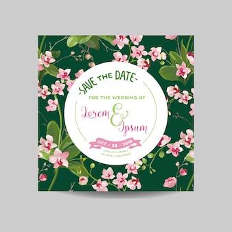 Zapisz kartę daty. zaproszenie na ślub tropikalne kwiaty i liście orchidei. wektor