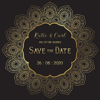 Zapisz kartę ślubu daty z elegancką mandalą