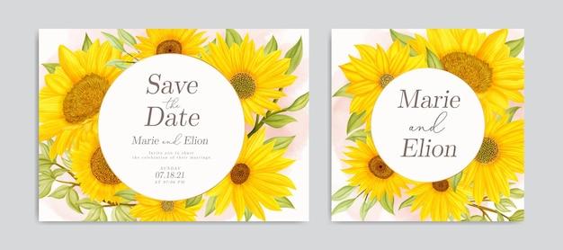 Zapisz kartę zaproszenia na datę z akwarelową ramką słonecznika