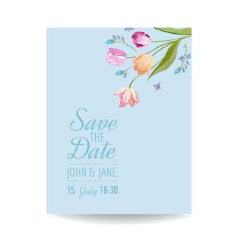 Zapisz kartkę daty z wiosennymi kwiatami tulipanów