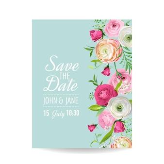 Zapisz kartkę z datą z kwiatami blossom jaskier. zaproszenie na ślub, przyjęcie rocznicowe, kwiatowy szablon rsvp. ilustracja wektorowa