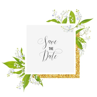 Zapisz kartkę z datą z kwiatami blossom lily valley i złotą ramką. zaproszenie na ślub, przyjęcie rocznicowe, kwiatowy szablon rsvp. ilustracja wektorowa