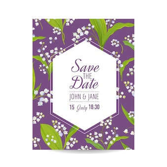 Zapisz kartkę z datą z kwiatami blossom lily valley. zaproszenie na ślub, przyjęcie rocznicowe, kwiatowy szablon rsvp. ilustracja wektorowa
