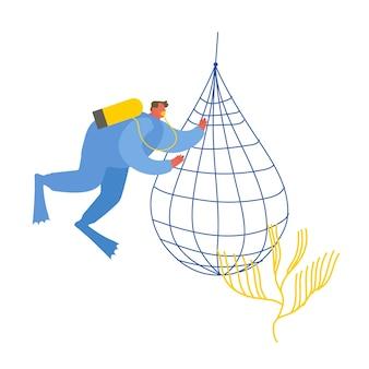 Zapisz koncepcję oceanu. nurek zbiera śmieci do podwodnego kosza