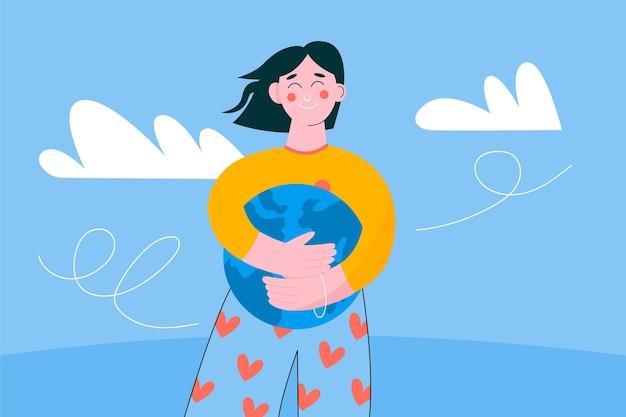 Zapisz koncepcję planety z kobietą przytulającą kulę ziemską