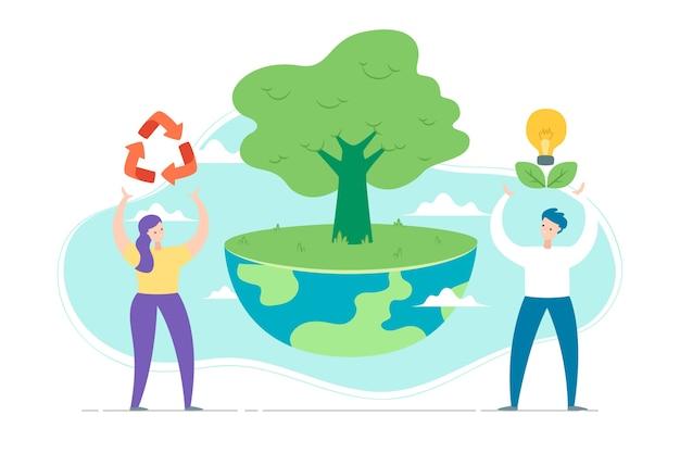 Zapisz koncepcję planety z ludźmi i drzewem