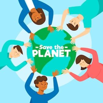 Zapisz koncepcję planety z ludźmi trzymającymi kulę ziemską