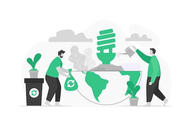Zapisz koncepcję recyklingu planety