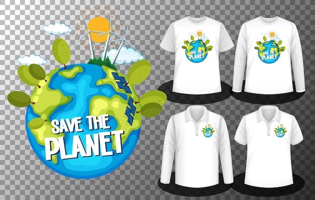 Zapisz logo dnia planety za pomocą zestawu różnych koszul z logo save the planet day na koszulkach
