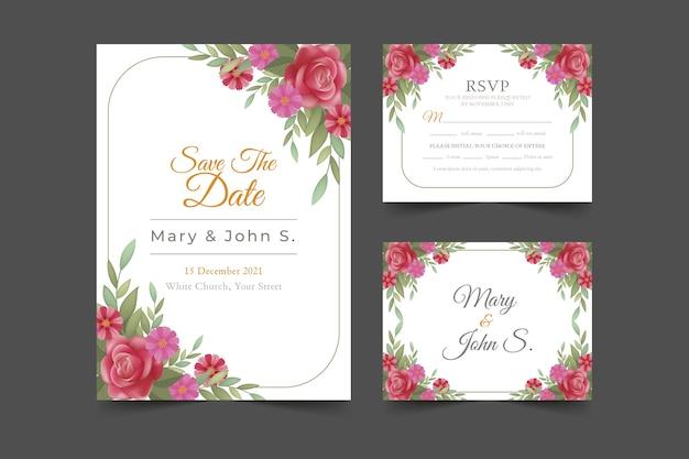 Zapisz papeterię z datą z kwiatowym zaproszeniem i kartami