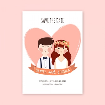Zapisz projekt karty daty z uroczą postacią pary.