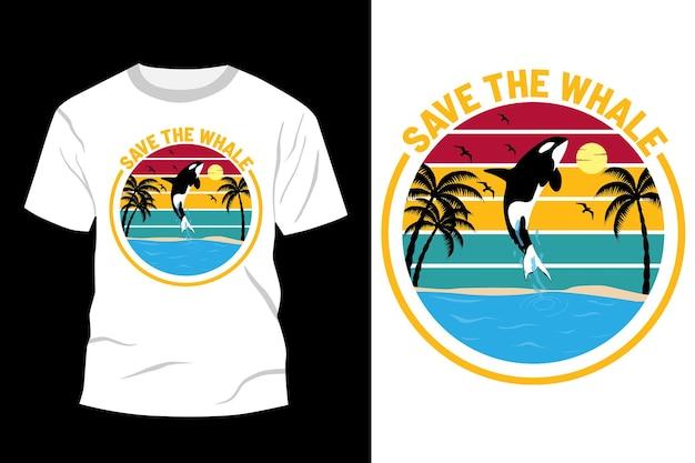 Zapisz projekt koszulki z wielorybem w stylu vintage retro