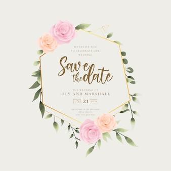 Zapisz ramkę ślubną daty z liśćmi akwareli