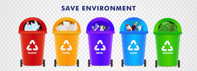 Zapisz środowisko. różne rodzaje pojemników do recyklingu, takich jak plastik, papier, metal