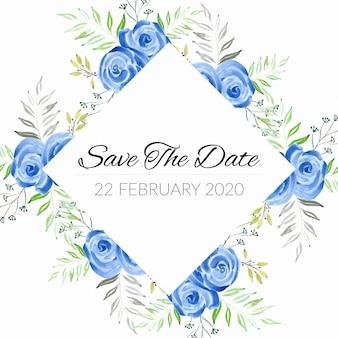 Zapisz szablon daty z niebieską różową akwarelą ramką