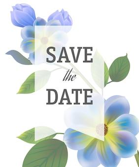 Zapisz szablon daty z niebieskimi kwiatami na białym tle z przezroczystą ramą.