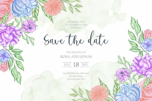 Zapisz szablon karty zaproszenia na ślub z datą z ramką kwiatu róży
