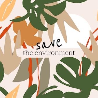 Zapisz szablon postu środowiska dla wektora na instagramie