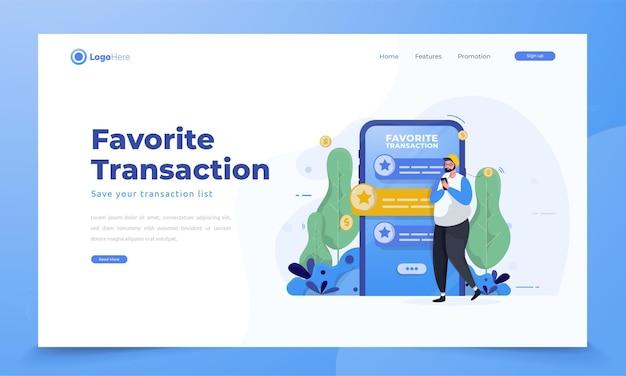 Zapisz w ulubionych transakcjach dla koncepcji mobilnej aplikacji finansowej